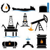 Oil industry icons set — Stock Vector