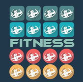 Man and woman of fitness silhouette character flat design icon s — Stockvector