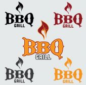 Set of western bbq design template — Stock Vector