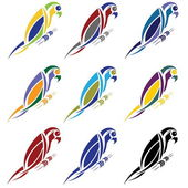 Set of abstract macaw parrot — Stock Vector