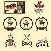 BBQ grill vector labels collection — Stok Vektör