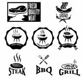 BBQ grill vector labels collection — Stock Vector