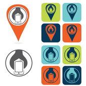 Mobile development icon set flat design — Stock Vector