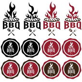 Vintage labels of bbq — Stock Vector
