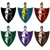 Crests with spartan warrior — Stock Vector