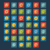 Flat icons alphabet  — Stock Vector