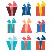 Set of nine colorful icons of gift boxes — Stock vektor