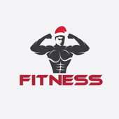 Man fitness silhouette character with merry christmas hat — ストックベクタ