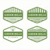Green Hills from the farm product grunge rubber stamp, vector il — Stock Vector