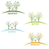 Illustrations house with trees in the style of negative space — Stock Vector