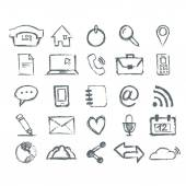 Real Hand draw universal Outline Icons For Web and Mobile — Vector de stock