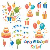 Set of vector birthday party elements — Stock Vector