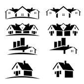 家の屋根の不動産ビジネスのための設定 — ストックベクタ