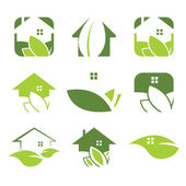 Set of ecological house icon — Stock Vector