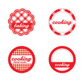 Vintage retro bakery labels, red gingham — Stock Vector