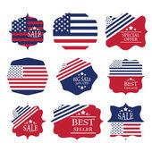 Vector vintage sale label set design elements in american flag c — Stock Vector