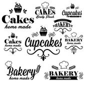 Set of black bakery logos — Stock Vector