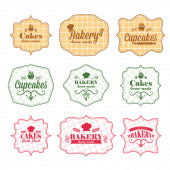 Collection of vintage retro bakery labels — Stock Vector