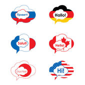 A set of comic bubbles and elements in flag of countries — Stock Vector