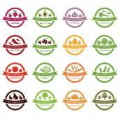 Set of vector labels with vegetables — Vector de stock