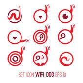 Set Illustration icon of wifi dog — Stock Vector
