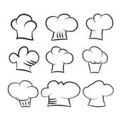 Set chef and cook hats set isolated on white background — Stock Vector
