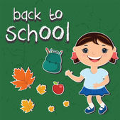 Vector illustration stickers back to school.With a child, backpa — Stock Vector