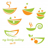 Abstract illustration icon of eco bowl with leaf and heart — Stock Vector