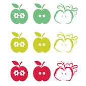 Illustration set of half apples — Stock Vector