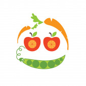 Abstract funny face illustration of apple,carrot and peas — Stock Vector