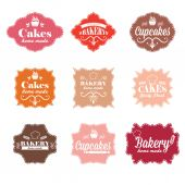 Collection of vintage retro bakery labels — Stockvektor