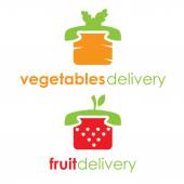 Illustration of fruit and vegetable delivery — Vetor de Stock