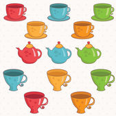 Illustration of cartoon collection of cup and teapot .Vector. — Stock Vector