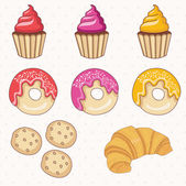Illustration set of donuts,cakes,croissant.Vector. — Stock Vector