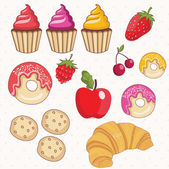 Illustration set of donuts,cakes,croissant and fruits.Vector. — Stock Vector