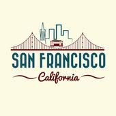 San Francisco Golden gate bridge and tram — Stock Vector