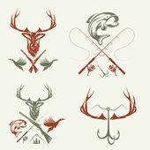 套的老式狩猎和捕鱼标签和设计元素 — 图库矢量图片