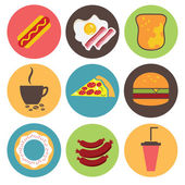 Fast food icons set for menu, cafe and restaurant. Flat design v — Stock Vector