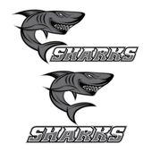 Cartoon aggressive shark for sport team — Stock Vector