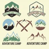 Set of vintage labels adventure camp — Stock Vector