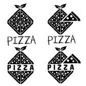 Rhombus pizza set vector design template — Stockvektor