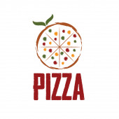 Pizza with leaves vector design template — Stockvektor