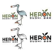 Heron sushi bar vector design template — Stock Vector