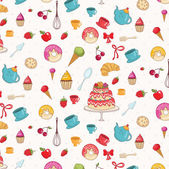 Seamless pattern of croissant,donuts,cakes,apples and other bake — Stock Vector