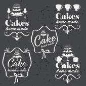 Collection of vintage retro bakery logo labels on chalkboard — Vecteur