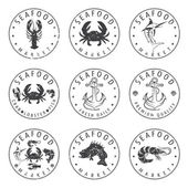 Illustration set of seafood Labels in retro style.Vector — Stockvektor