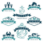 Illustration set of seafood Labels in retro style.Vector — Vecteur