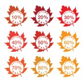 Illustration label sale with autumn leaves — Stock Vector