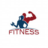 Man and woman of fitness silhouette character vector design temp — Stock Vector