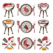 Bbq set of meat,hot dog and burger — Stock Vector